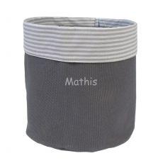 Corbeille tissu gris souris Arthur