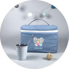 Trousse de toilette enfant Bleu Gris Butterfly