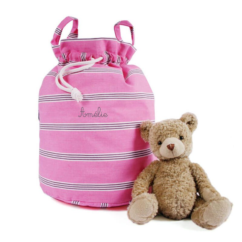 un sac rangement jouet tissu honfleur accessoire chambre b b chic. Black Bedroom Furniture Sets. Home Design Ideas