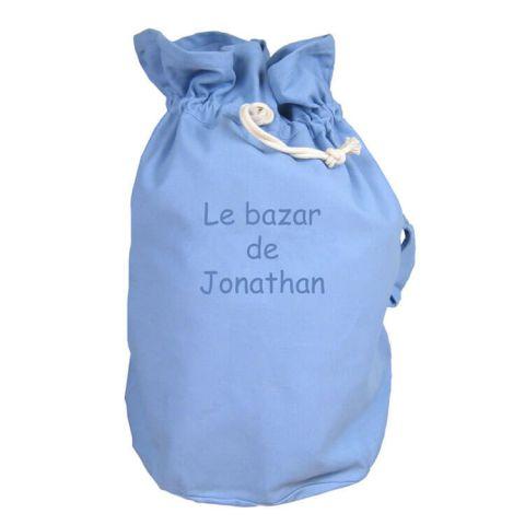 Sac rangement bleu personnalisé Le bazar de ...