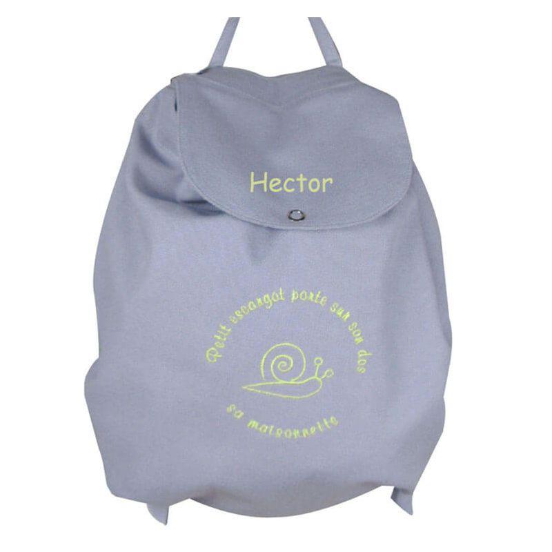 un sac dos gar on gris petit escargot pour aller chez la nounou. Black Bedroom Furniture Sets. Home Design Ideas