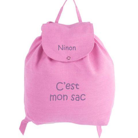 Sac à dos bébé personnalisé Rose C'est mon sac
