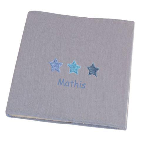 Album photo pour enfant gris Etoiles Bleues