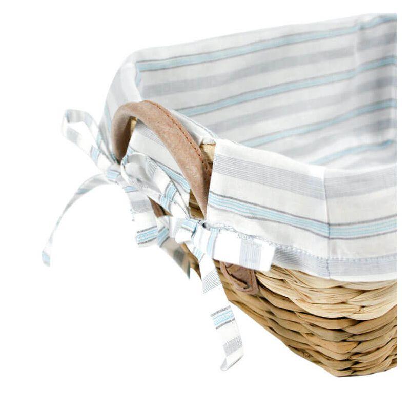 un panier de rangement en osier avec un tissu rayures. Black Bedroom Furniture Sets. Home Design Ideas