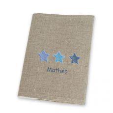 Protège carnet de santé lin Etoiles Bleues