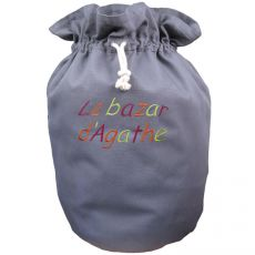 Sac rangement jouet tissu Gris souris Le bazar de...