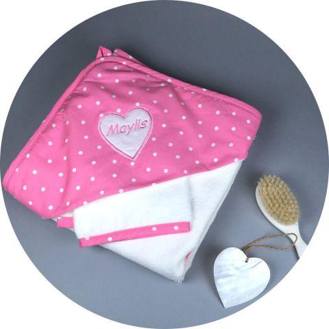 serviette-eponge-bebe-rose-pois-blanc