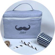 Trousse toilette bébé Gris Moustache