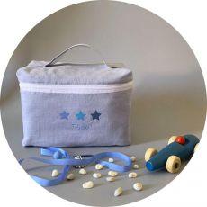 Trousse de toilette bébé gris Etoiles bleues