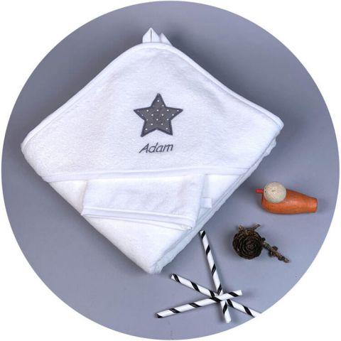 serviette-bebe-etoile-pois-gris-souris