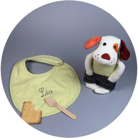 coffret-naissance-doudou-chien-bavoir