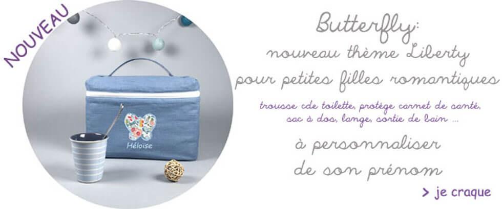 Trousse de toilette bébé personnalisée Butterfly